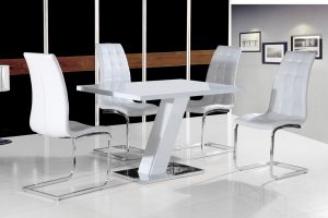 compact high chair grazia white high gloss contemporary designer cm compact dining table only white black chairs purchase options dining table black chairs [] p